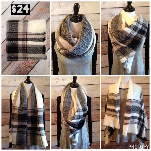 **BACK IN STOCK** Black & White Plaid Blanket Scarf  **Best Seller Alert** www.royalravenboutique.com