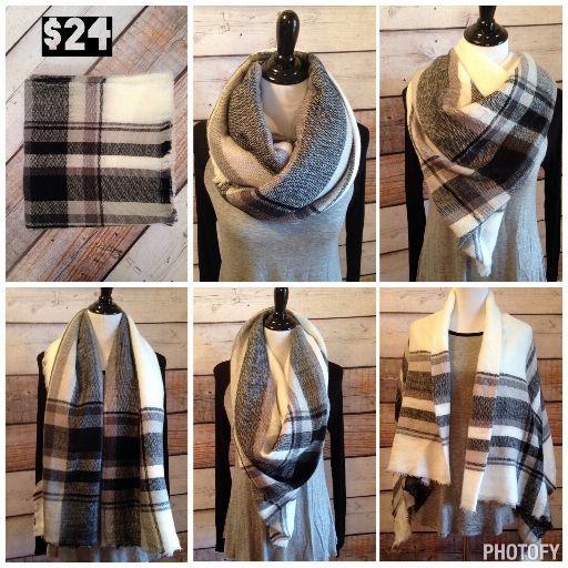 **BACK IN STOCK** Black & White Plaid Blanket Scarf  **Best Seller Alert** www.royalravenboutique.com
