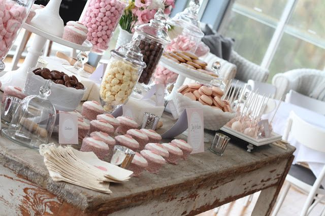 Vintage dessert table Sweet treats on the table included Clinkers, Maltesers, Milk Buds, Strawberry Bon Bons, Pink Heart Marshmallows, Strawberry Jelly Beans and Pink Heart Swirl Lollipops. Dessert table concept and styling: A Little Polkadot Wedding cake: www.cakesbylorinda.com.au Wedding cupcakes, heart cookies and cake pops: A Little Polkadot Custom buffet labels and favor bags: A Little Polkadot Macarons: Baked Patisserie Venue: Moby Dicks, Whale Beach