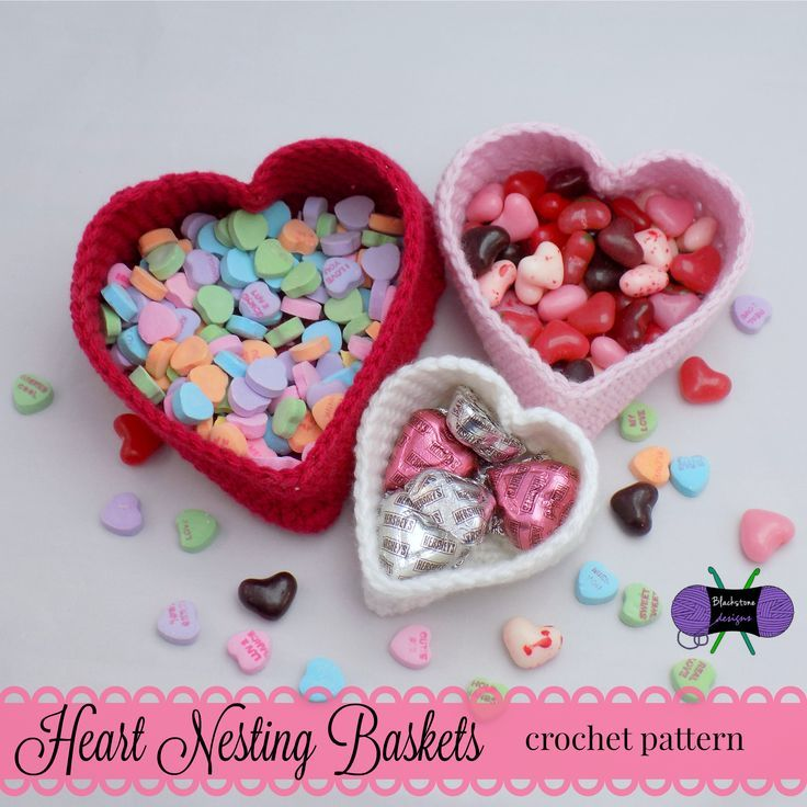 These Heart Nesting Baskets are the perfect home decor for Valentine's Day...or you can make them to match your home decor and keep them out all year long! http://www.ravelry.com/patterns/library/heart-nesting-baskets