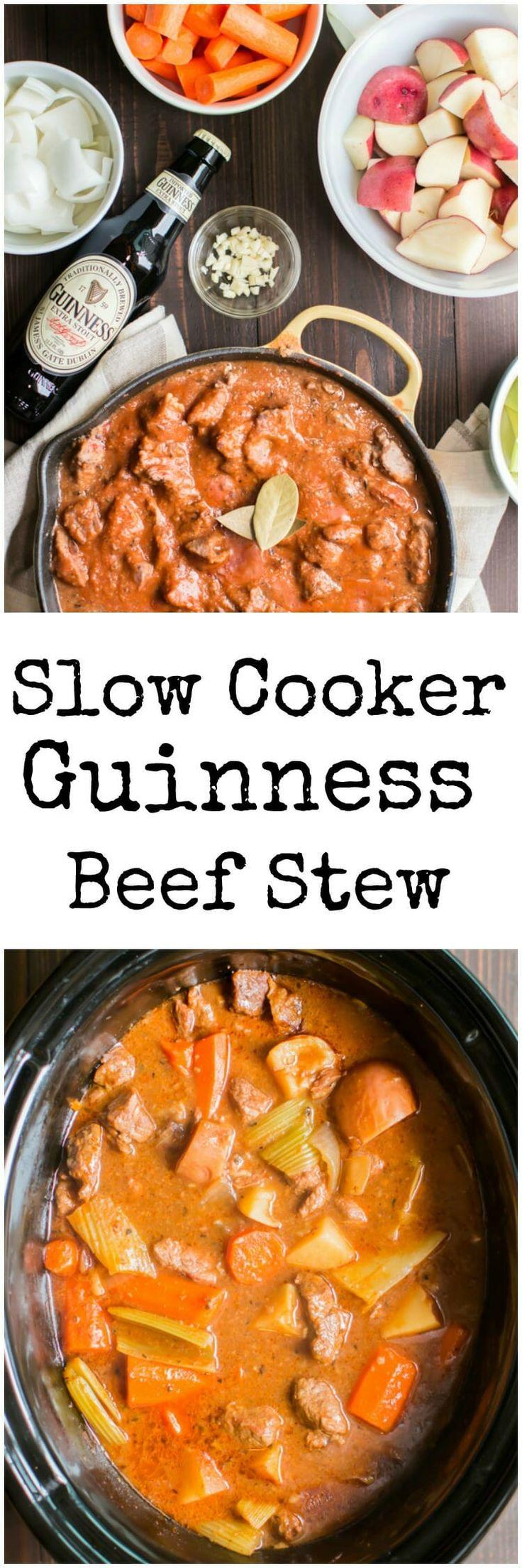 Slow Cooker Guinness Beef Stew #crockpot #slowcooker #guinness