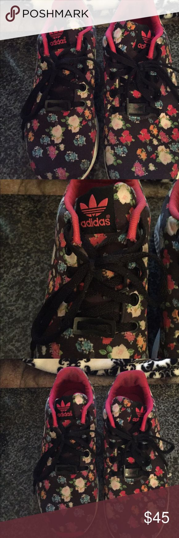 Adidas ZX FLUX floral Sneakers. Gorgeous Sz 5 Gorgeous pair of rare Adidas ZX FLIX floral sneakers. Hard to find. Size 5. Gently used about 2/3 times only. Pair with shorts, jeans or leggings. Cute sneaks for sure Adidas Shoes Sneakers