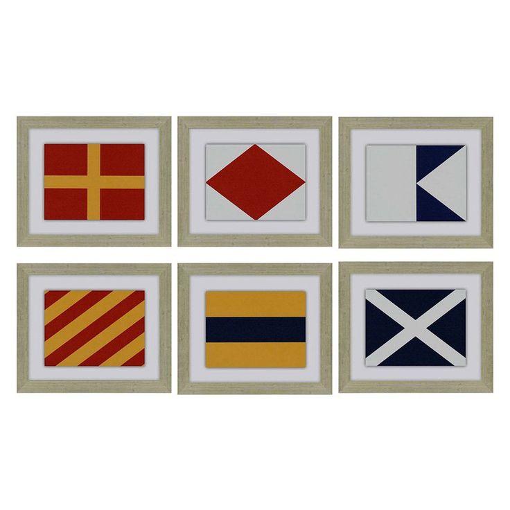 Paragon Decor Nautical Signals Framed Wall Art - Set of 6 - 7137