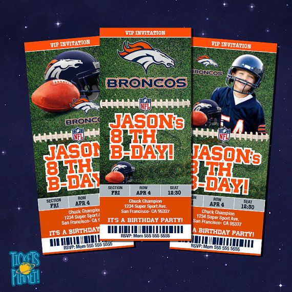 Denver Broncos Tickets Birthday Invitation Card by TicketsPlanet, $10.00 - DENVER BRONCOS  - BRONCOS