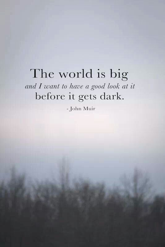 The world is big and I want to have a good look at it before it gets dark.