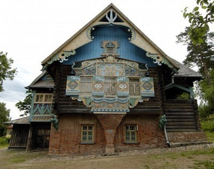 The russian house`s carving in Flyonovo, old russian village-museum. Smolensk, Russia. Stock Photo