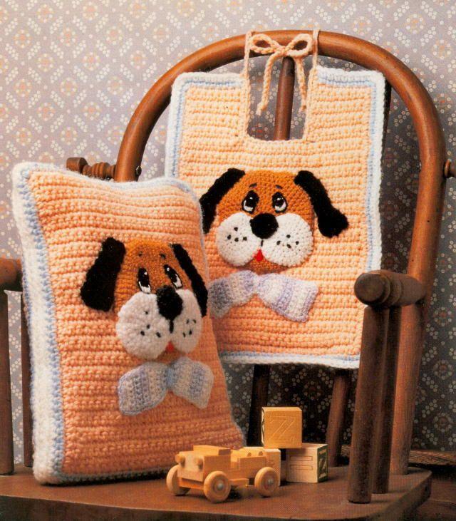 CROCHET PATTERN Cute Baby Puppy Bib & Pillow