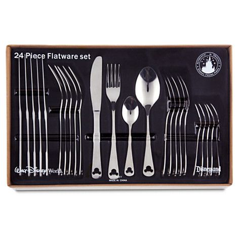 New Disney Parks Mickey Mouse Icon 24 Pc Flatware Silverware Set