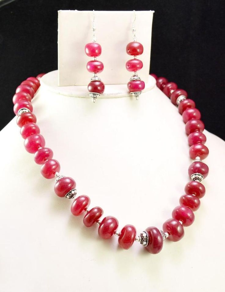 597ct Natural Blood Red Ruby Designer Beads Necklace Cabochon with Earrings #Handmade #Choker