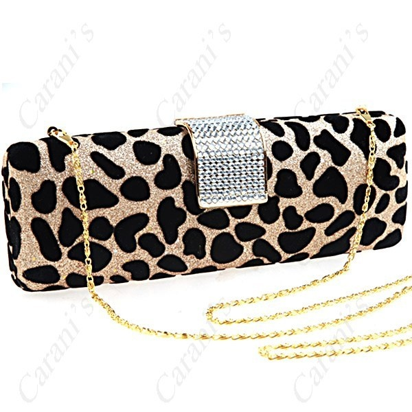 Rhinestones Clasp Sexy Leopard Shiny Evening Banquet Case Handbag with Dual Chai