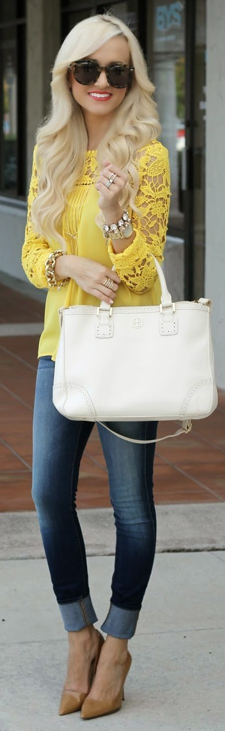 Goodnight Macaroon Yellow Crochet Contrast Sleeve Blouse by A spoonful of Style