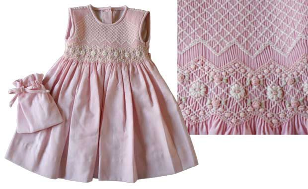 Pink Hand-Smocked Sleeveless Dress with Hand-Embroidered flowers