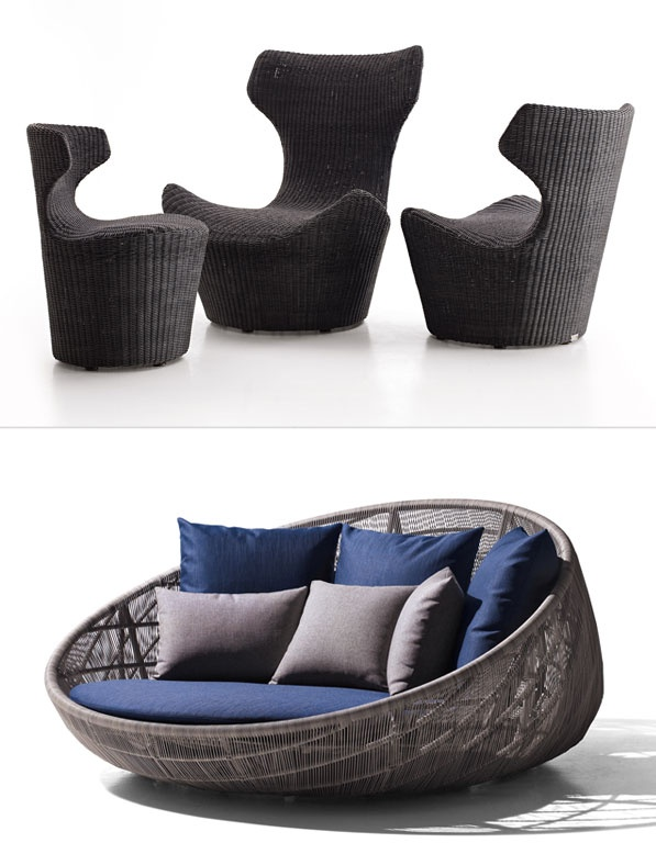 Papilio by Naoto Fukasawa in an innovative outdoor version. Canasta by Patricia Urquiola is newly attired.