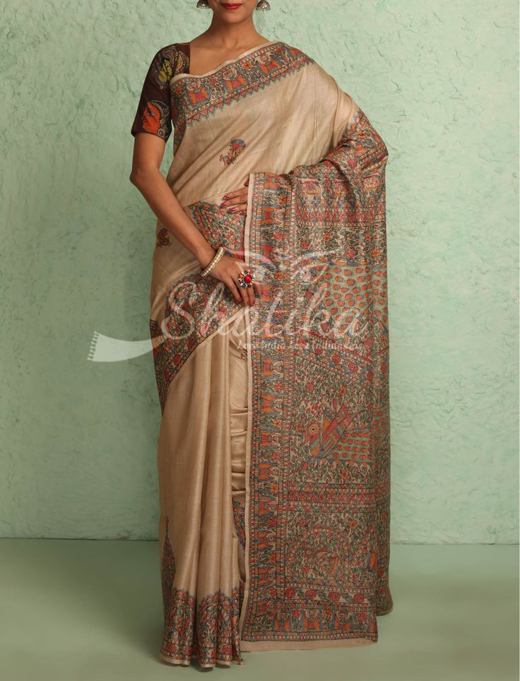 Deeksha Serene Beige With Intricate Handpainted Border Pallu Madhubani Silk Saree