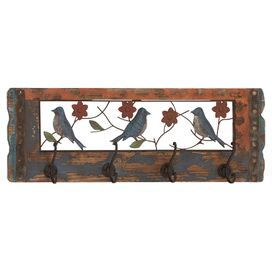 """Hang coats and hats in the entryway or towels in your master bath with this charming wall rack, showcasing a distressed bird motif and 4 double hooks.  Product: Coat rackConstruction Material: Metal and woodColor: MultiFeatures: Four double hooksDimensions: 10"""" H x 28"""" W x 3"""" D"""