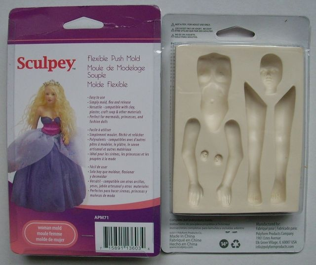 DECODANCE - Sculpey vtlačovací forma - Panenka, push mold - Doll