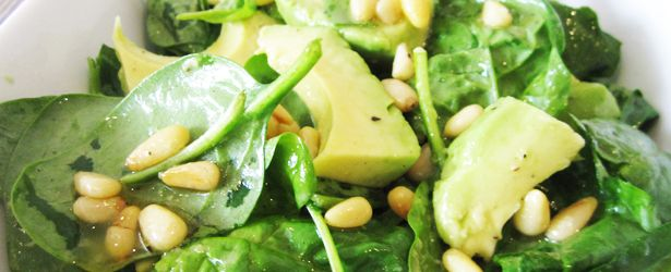 Avocado, spinach and toasted pine nuts!!