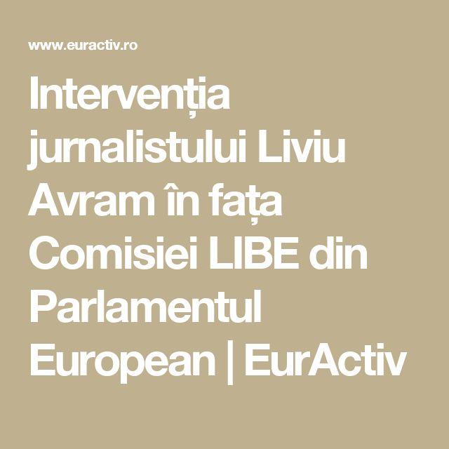 Intervenția jurnalistului Liviu Avram în fața Comisiei LIBE din Parlamentul European   EurActiv