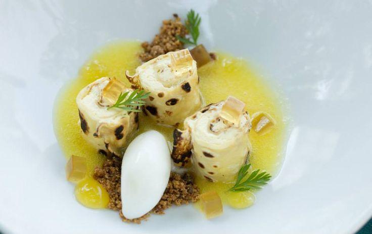 For a sweet finish...Crepe Suzette with vanilla custard, Grand Marnier, Greek yoghurt sorbet & orange gel http://www.tenbompas.com/
