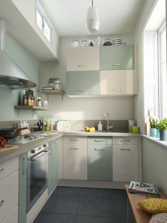 Cuisine Moderne Maison Ancienne : 12 modèles de petite cuisine cuisine vert et crème sixties portes et