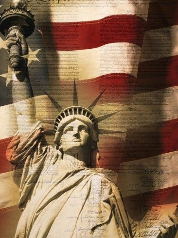 Statue of Liberty and American Flag Photographic Print by Joseph Sohm at AllPosters.com