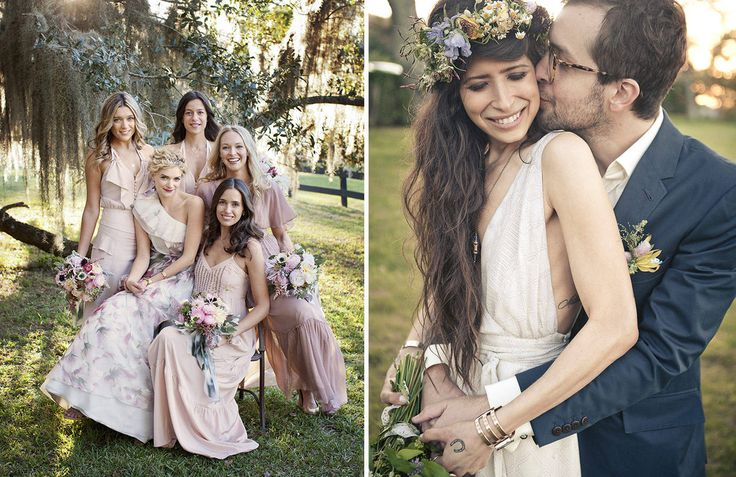 left- a bride and her bridesmaids. right Pamela Love.