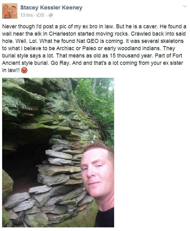 BREAKING: West Va. Caver Says He Discovered Ancient Indian Burial Site near Elk River