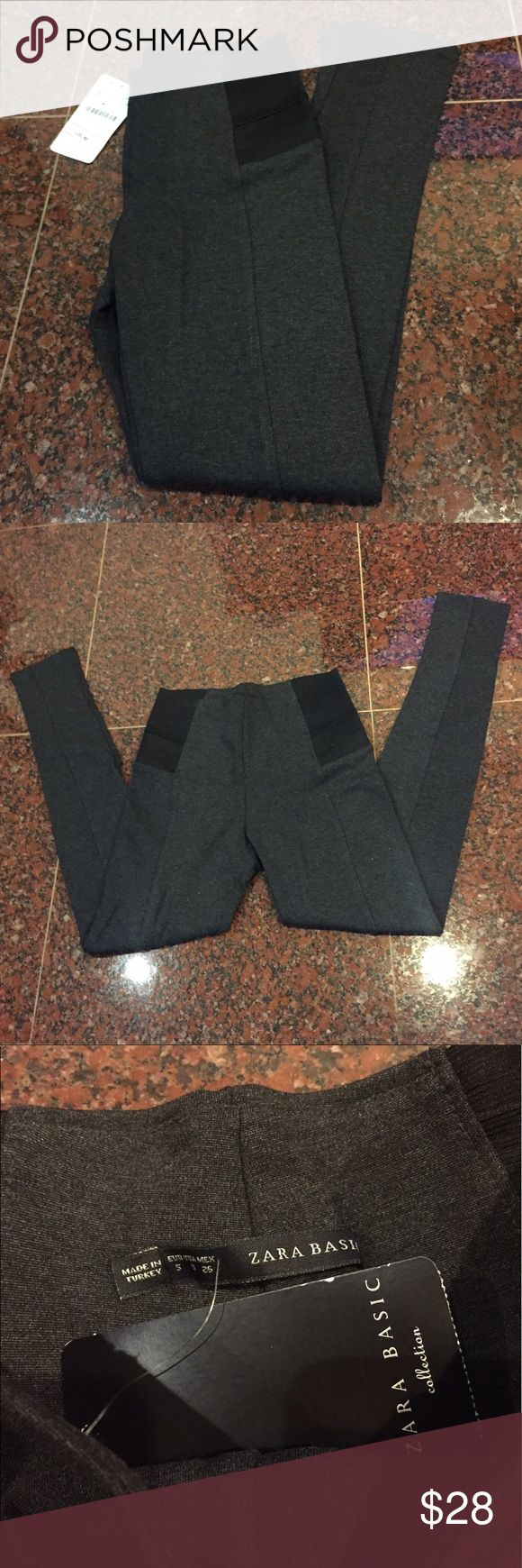 Zara Basic Charcoal Thick Leggings Charcoal colored stretch leggings from Zara Basic. Thick material with seam down leg for dressier look. Black elastic detail around waist. Size small. NWT. Zara Pants Leggings