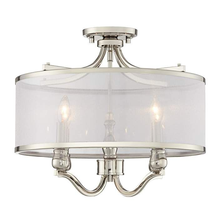 Nor 18 Wide Polished Nickel Traditional Ceiling Light 46j71 Lamps Plus