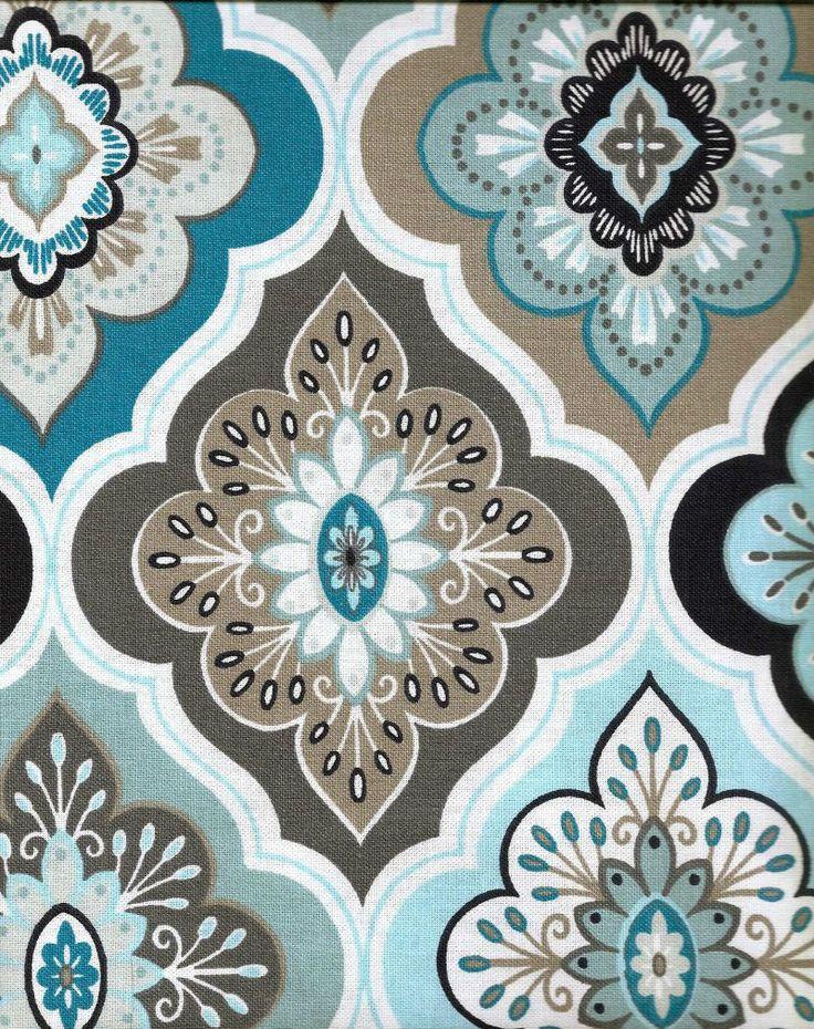 Peri Fabric Shower Curtain Lilian Tile Floral Aqua Grey