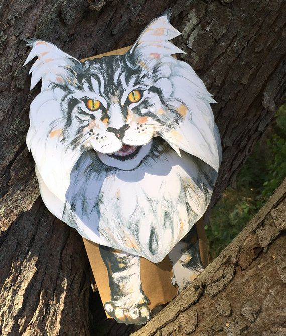 Printable Maine Coon Cat paper bag puppet. Download instantly from Rutabaga and Sally