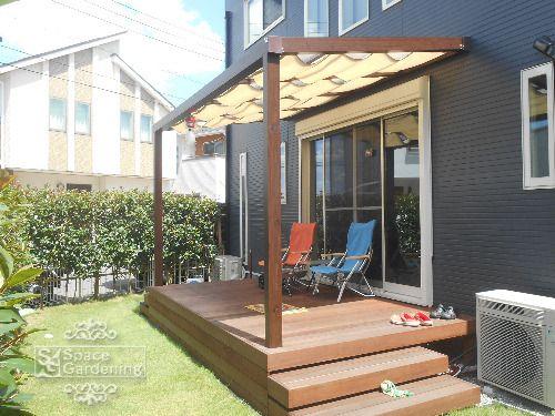 ウッドデッキ 高級天然木材 ウリン材 テラス屋根 タカショー ポーチテラス