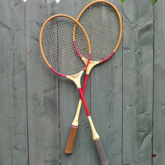 pair of vintage badminton racquets classic by nestingplacemarket