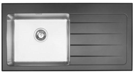 Bluci KubeVetro 1.0 Bowl Black Glass Kitchen Sink