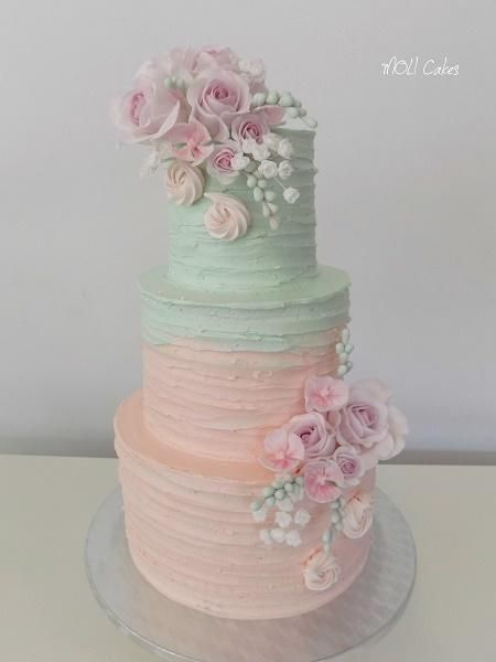 Pink and mint by MOLI Cakes - http://cakesdecor.com/cakes/256864-pink-and-mint