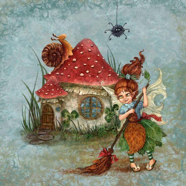 Замечательные и тёплые иллюстрации Галины Егоренковой._ Осенняя уборка
