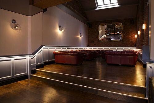 The Terrace Bar in Leicester, illuminated with Ledridge Lighting LED ribbon.