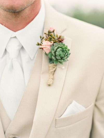 Succulent boutonniere: http://www.stylemepretty.com/little-black-book-blog/2014/11/13/rustic-flying-v-ranch-wedding/ | Photography: Ashley Bosnick - http://ashleybosnick.com/