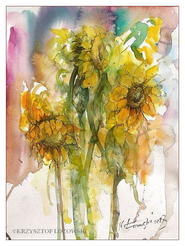 Sunflowers, 40x30cm, watercolour, for sale