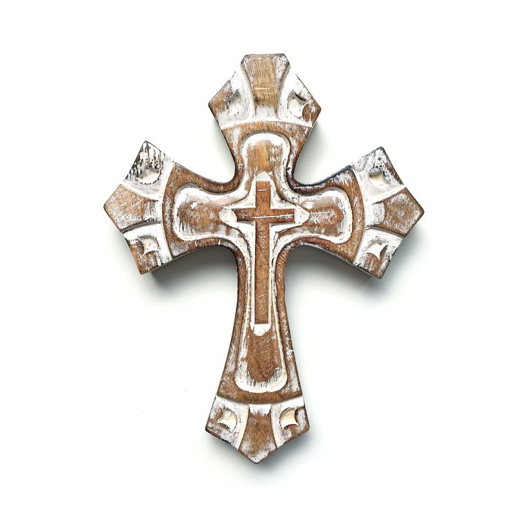 Angelic cross. Hand crafted old style looking white cross. Wall hanging. Christianity. Religion. Gift. Wood carving.