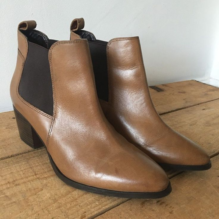 UK SIZE 6 WOMENS MARKS & SPENCER COLLECTION TAN LEATHER ANKLE BOOTS #MarksSpencerCollection #WesternAnkleBoot #Casual