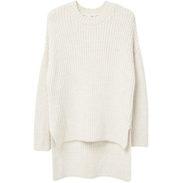 Mango Long Knit Jumper, Light Beige (4.465 RUB) ❤ liked on Polyvore featuring tops, sweaters, white long sleeve top, white jumper, chunky knit sweater, long knit sweater and long sleeve sweaters