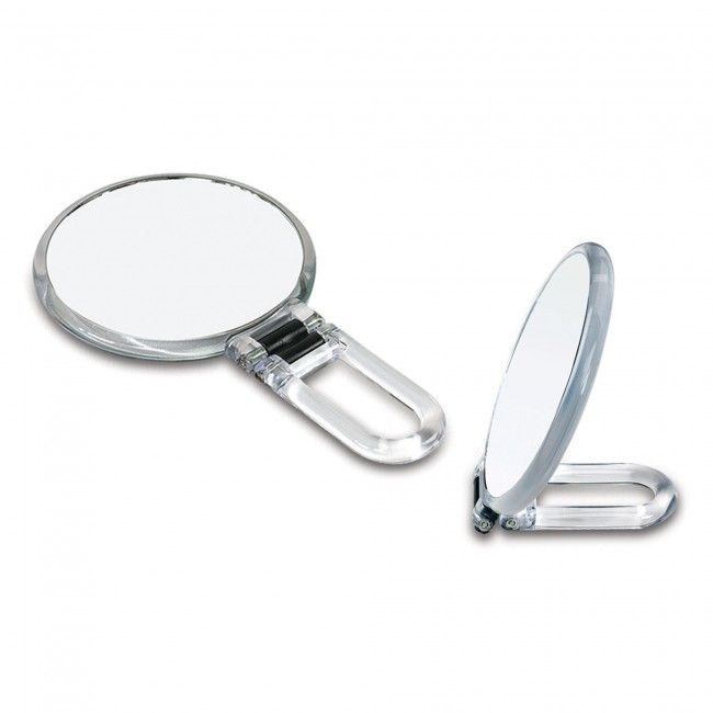 This folding hand mirror comes with 10x magnification and ca be used hand-held or folded to sit on any surface.