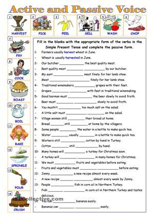 Gap fill and re-write exercise for active and passive voice in the Simple Present Tense. Key is given. - ESL worksheets