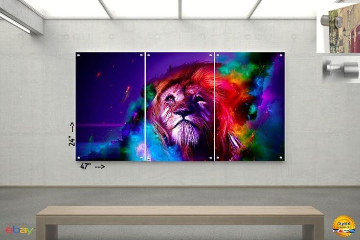 Wall Art in Floating Acrylic Glass Plexiglass Modern Abstract Art Lion  3 Panel #Modern