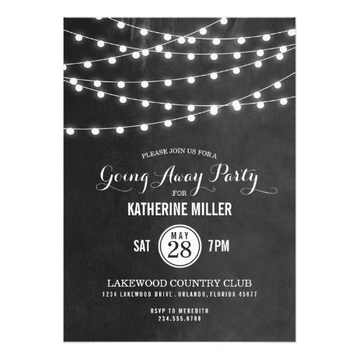 Summer String Lights Going Away Party 5x7 Paper Invitation Card