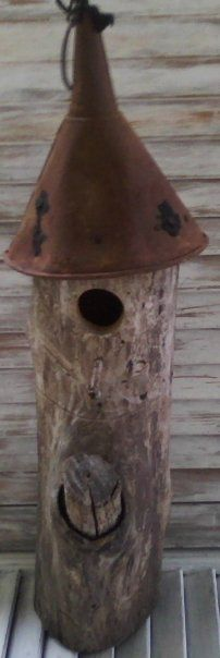 Rustic Birdhouse.  You just have to laugh at how simple a solution can be sometimes.