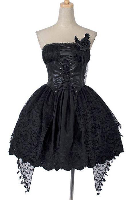 Punk Rave Dress romantic jacquard black rose Restyle