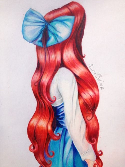 Cute ariel hair drawing by Kristina Webb