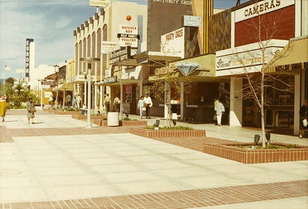 Stewart Photo on the right side where I bought my first and second cameras and much of my early camera gear! Third Street in 1970, when it was known as the Santa Monica Mall. Courtesy of the Santa Monica Public Library Image Archives.